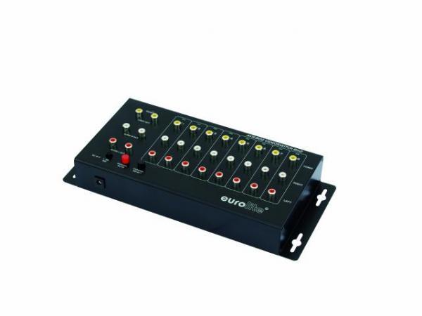 EUROLITE AVS-802 video katkaisin- jako kuvalle sekä audiolle, kahdeksan sisäänmenoa sekä 2kpl ulostuloja. Mitat 282 x 128 x 50 mm   sekä paino 1,0kg.