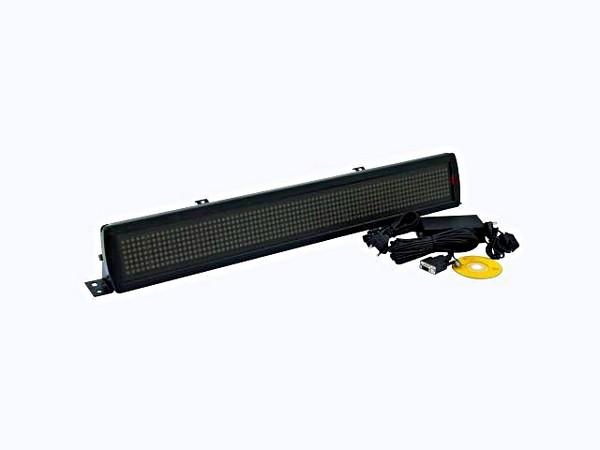EUROLITE LED-näyttötaulu 102 x 660 x 50mm, ohjelmoitava, aika sekä päivämääränäyttö, voidaan vapaasti syöttää tekstiä. Moving Message ESN 7 x 80 5mm LEDs red/green/yellow