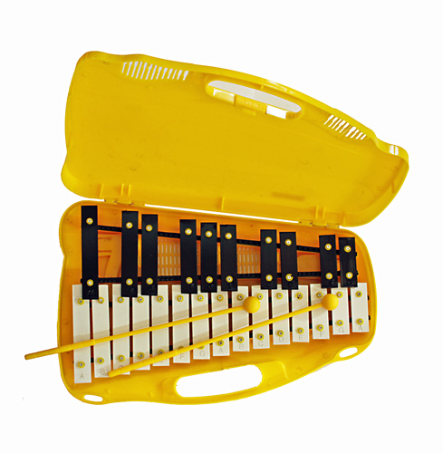 TJP Music Instruments Glockenspiel 25 Notes, Chromatic, plastic carrying case, 2 Mallets 40x 40x 5cm, Kellopeli