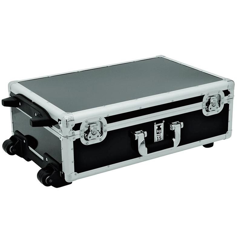 ROADINGER Kuljetuslaatikko musta, pyörillä ja vetokahvalla 120 CD-levylle.