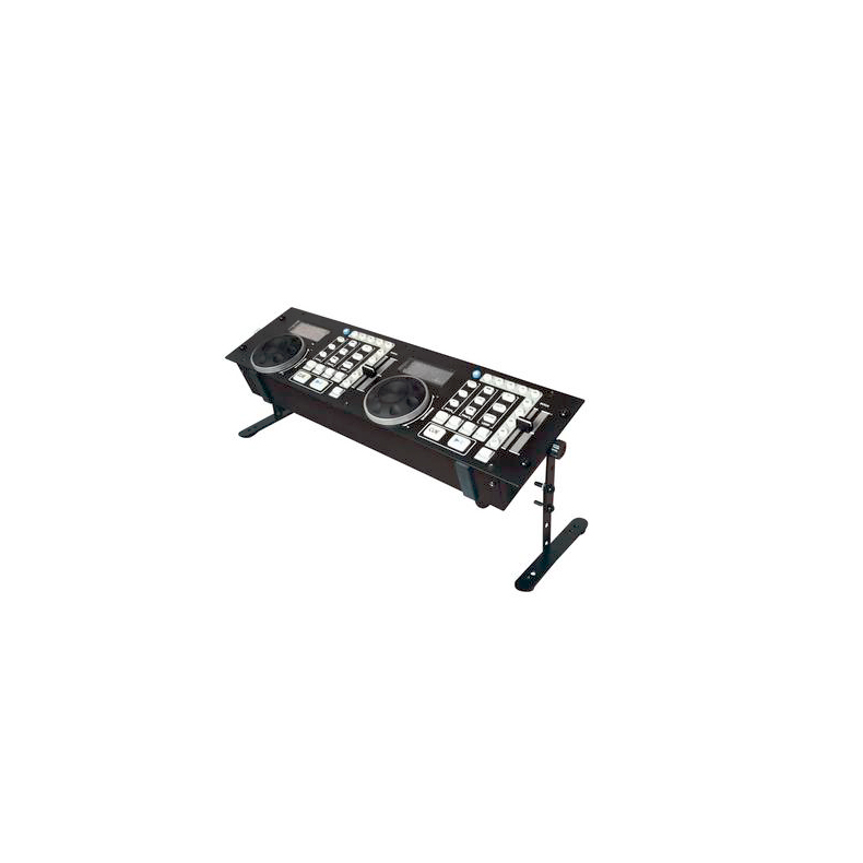 OMNITRONIC Tupla CD-soittimen ohjaimen teline, säädettävä! Adjustable stand 2/3 U controller stand, DJ rack for 483 mm units (19