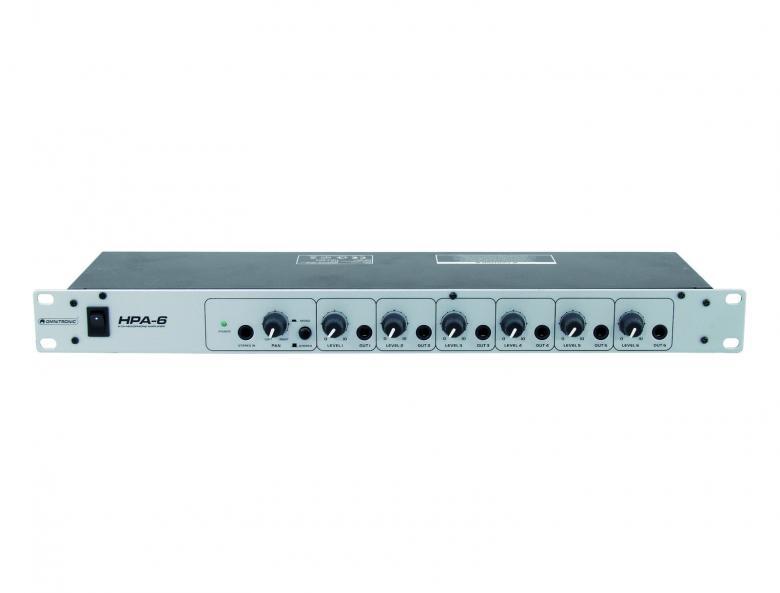 OMNITRONIC HPA-6 Kuulokevahvistin, 6-kanavaa, 1U, 6 erillistä kuulokevahvistinta 1U rack tilassa. Ylimääräinen Stereo Aux In per kanava