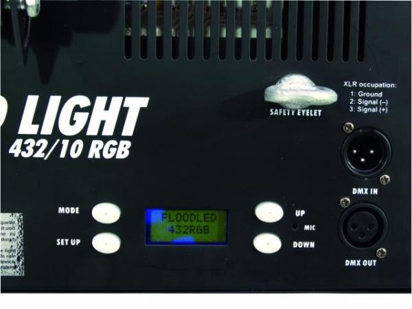 EUROLITE LED flood light 432/10 RGB, LED valaisin värinvaihdolla, DMX, 14 valmista ohjelmaa, Aukeamiskulma 20°
