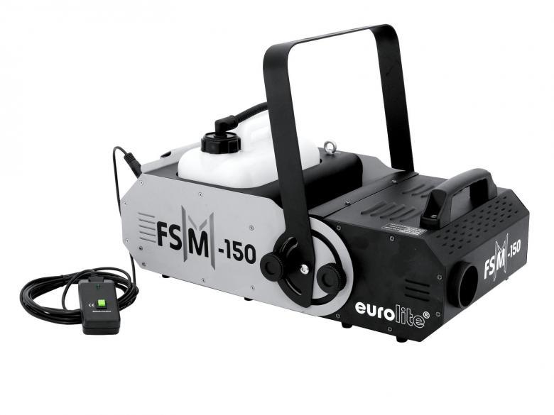 EUROLITE FSM-150 1500W DMX Savukone trussi-asennukseen, s��dett�v� savun suunta 70� yl�s/alas. Kone poistaa useimmat ongelmat kertaheitolla. S��dett�v� savup�� yl�s/alas 70� helpottaa trussiin asentamista! Tehokas l�mmitin 1500W sek� huippuluokan savuntuotto 900 m�/min. Viiden litran s�ili� on helppo t�ytt�� tai vaihtaa vain uuteen. Kulutus 50ml /minuutti sek� tuotto 900 m�/min. Mitat 560 x 350 x 390 mm  sek� paino 13,00kg.