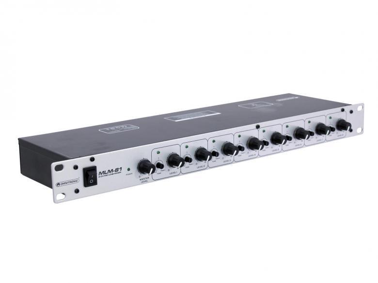OMNITRONIC MLM-81 Mikrofonimikseri 8-kanavaa antaa sinulle mahdollisuuden laajentaa kuuluvuuttasi, jopa 8 mikrofonia yhtä aikaa kytkettävissä, 12V phantom-virta valittavissa DIP-kytkin