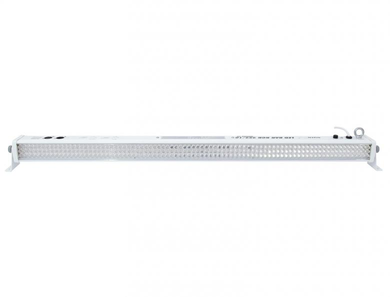 EUROLITE LED-parru BAR 252 RGB 252x10mm ledit 20° aseteen aukeamisella. Valkoinen runko. white, sound-controlled or DMX, 12 channels, 30 W. Mitat 1070 x 65 x 90 mm sekä paino 2,5kg