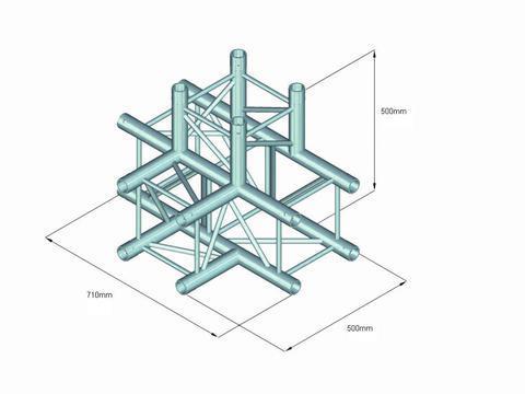 ALUTRUSS QUADLOCK Trussi 4-tie T-pala 6082T-42 4-way T-piece, putken paksuus 50mm, kolme kappaletta kytkentä settejä kuuluu hintaan, paino 10,95kg.