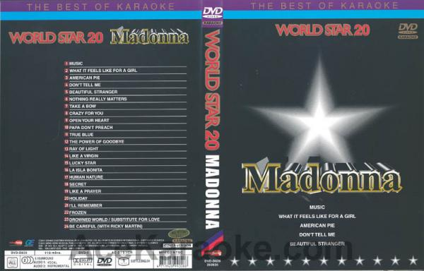 WORLDSTAR VOL. 20 Madonna karaoke DVD, Mukana mm. la is la Bonita, Music, Grazy for You, Like A Prayer!