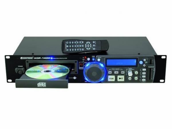 OMNITRONIC XDP-1400 Single CD/MP3/SD/USB-soitin, kansiohaku, kaukosäädin, antishok buffer, nopeuden säätö ±16%. Soittaa CD-, MP3-levyt, tikulta, kortilta. Mitat 482 x 270 x 95 mm sekä paino 3.1kg