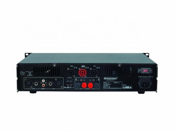 OMNITRONIC E-200 päätevahvistin 2x100W limitterillä. Stereo PA amplifier with integrated limiter, Päätevahvistin. Mitat 345 x 482 x 100 mm sekä paino 8,0kg.