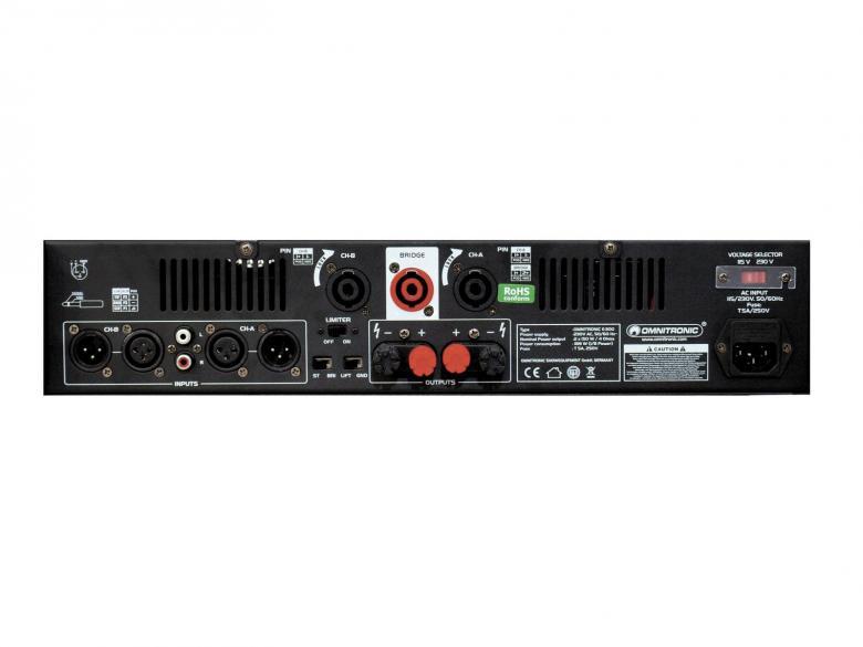 OMNITRONIC E-300 Päätevahvistin 2x150W Amplifier 2x 150W 4ohm. Laadukas sekä tehokas päätevahvistin ammattimaiseen käyttöön. 19