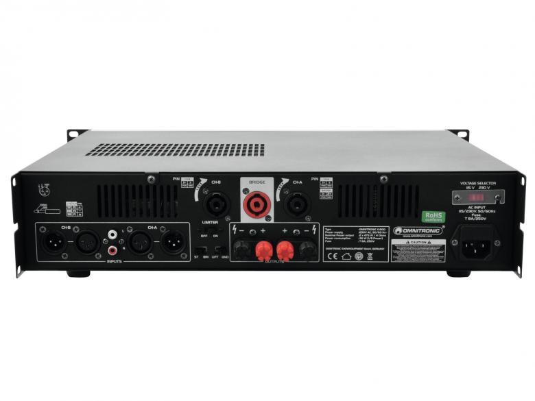 OMNITRONIC E-900 Päätevahvistin Amplifier 2x 450W 4ohm. Laadukas sekä tehokas päätevahvistin ammattimaiseen käyttöön. 19