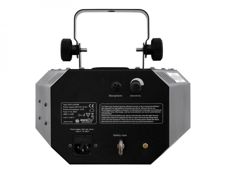 EUROLITE LED D-24 3x3W Derby LED Valoefekti,  Säteet lähtevät jokaisesta linssistä muodostaen ympyrän muotoisen liikkeen aina basson iskusta.Kuusi linssiä neljässä rivissä muodostavat kahdenkymmenenneljän linssin kokonaisuuden, joka riittää täyttämään suuremmankin tilan.  Aukeamiskulma 150° eli erittäin laaja. Laitteessä on sisäänrakennettu mikrofoni, eli se toimii musiikkiohjauksella, mikrofonin herkkyyttä voit säätää laitteen takaa pyöritettävällä säätimellä. Väriyhdistelmät vaihtuvat jatkuvasti, kiitos sisäisen ohjelman jatkuvan ketjun.  Helppo asentaa mukana tulevan asennusraudan avulla vaikka kattoon.  Soveltuu mm. discoihin, bilehuoneisiin tai liikkuvalle tiskijukalle.  Tehokkaat 3x3W LEDit kolmelle värille (RGB)