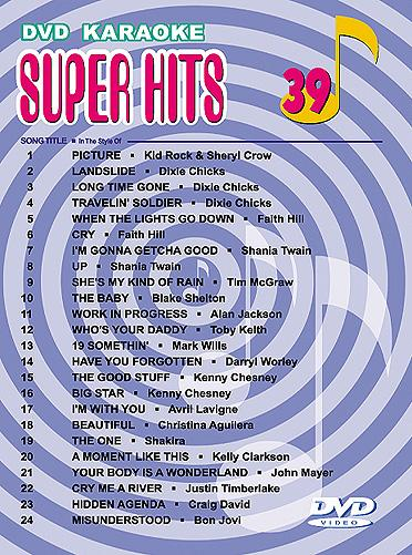 U-BEST Super Hits English Songs Vol. 39 DVD Karaoke, mukana mm.Kid Rock, Dixie Chicks, Faith Hill, Shania Twain!!