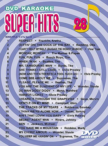 U-BEST Super Hits English Songs Vol. 28 DVD Karaoke, esittäjinä mm. Artha Franklin, Otis Redding, Supremes, Manfred Mann, Marvin Gaye!!