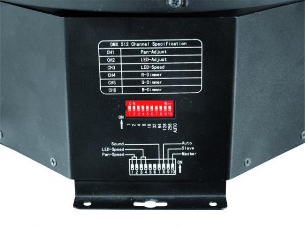 EUROLITE LED B-15 10W TCL LED DMX mirror ball effect, Peilipalloefekti Vaihtuvin Värein. Tätä tuotetta voit käyttää peilipallon sijasta katossa tai lattiatasossa. Voit ohjata myös DMX n kautta. 1 kpl 10W TCL led kolmivärinen.Vastaa n. 250W halogeenia. 55 linssiä, joista säteet tulevat ulos. Ääniohjaus sisään rakennetun mikin kautta. Portaaton värien vaihtuminen. Voidaan linkittää useampia peräkkäin.
