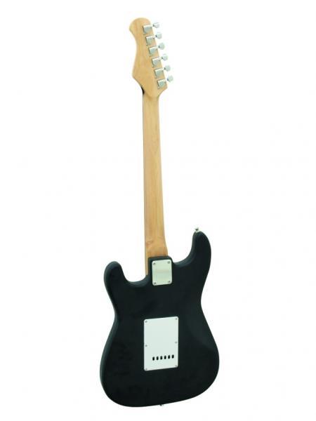 DIMAVERY ST-203 Mattamusta Sähkökitara,  E-Guitar Matt black, Electric Guitar, Uusia värejä ja lankun kuviointeja Dimaveryn Stratocaster-malleissa. Erinomainen kitara aloittelijoille, kuin jo vähän pitemmällekin ehtineille soittajille!