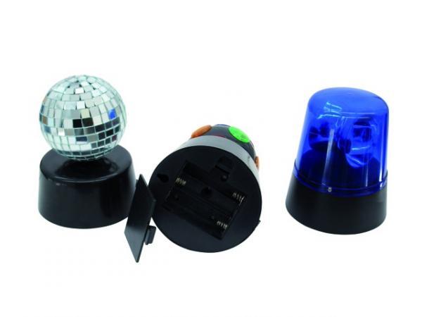 EUROLITE Mini Disco Light Set, Disco valo, Peilipallo sekä Poliisivalo! LOPPU!