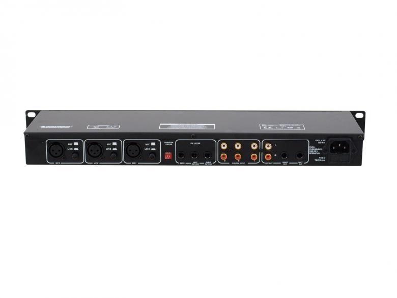 OMNITRONIC EM-260B, Tämä mikseri on vain 1 U eli n. 5cm korkea, saat siihen kytkettyä kolme linja tasoista äänilähdettä sekä 3 kpl mikrofoneja. Erittäin näppärä Karaokeen, Pubiin, salille tai julkisiin tiloihin!