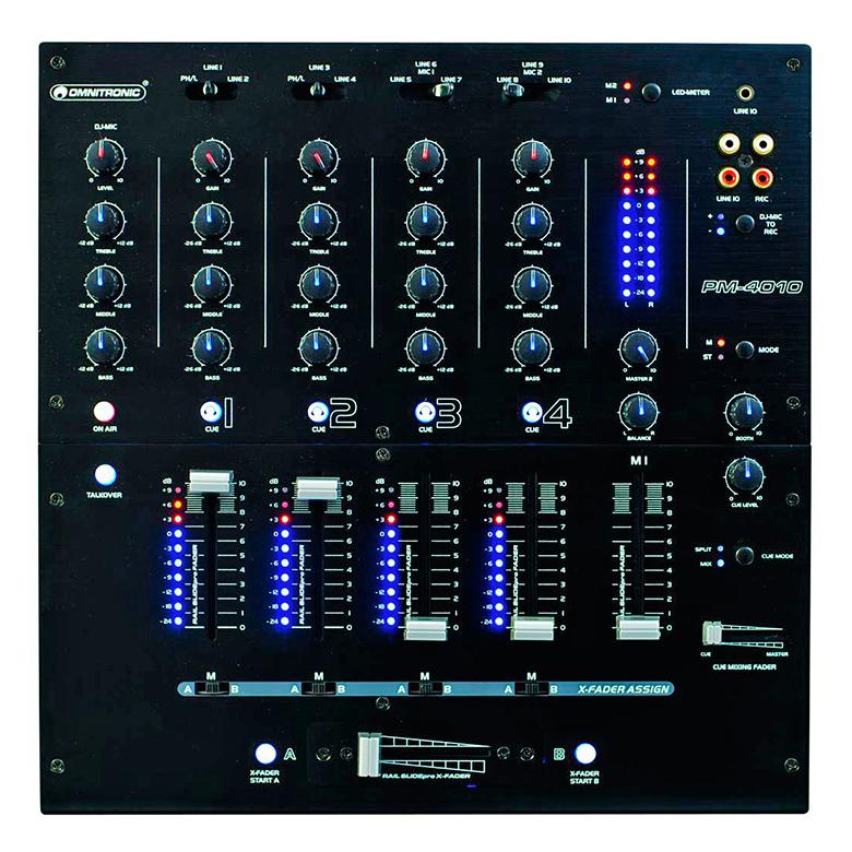 OMNITRONIC PM-4010B PM-4010 Pro DJ-Mixeri musta, Huipputason DJ mikseri ammatti ja harrastekäyttöön. Huippulaatua. 4-kanavaa sisään,3-alueinen eg, 1x dj mic, Tunnokkaat säätimet,Kestävät sekä laadukkaat faderit. Mitat ovat kompaktit 320 x 320 x 110 mm sekä paino 5,4kg.