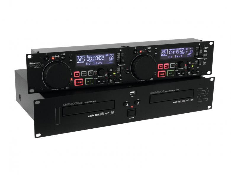 OMNITRONIC CMP-1200B Tupla DJ CD-soitin, MP3. Dual CD/MP3-player.. Tässä tupla cd soittimessa on MP3 ominaisuus: 2 USB-porttia soitinyksikössä, toinen etupaneelissa toinen takana jotka mahdollistavat massamuistien (Muistitikku, kovalevy, yms..) käytön aina 32GB asti. Sekä erillinen ohjainyksikkö nopeuden säädöllä. Relay-toiminnolla voit soittaa pesästä toiseen katkottomasti pitkään.