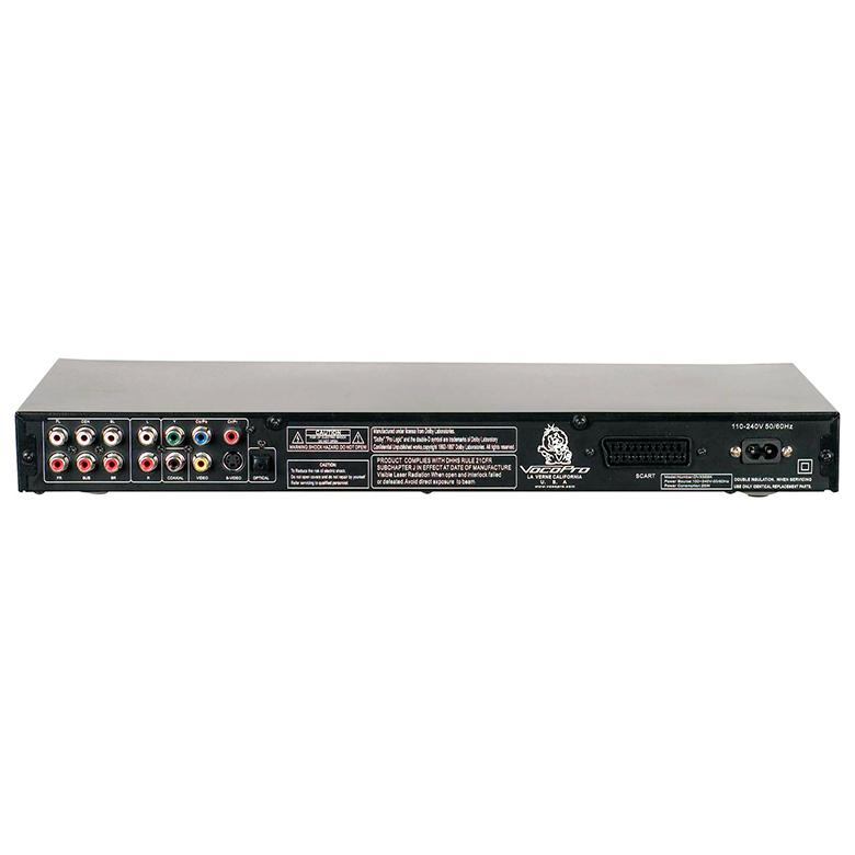 VOCOPRO DVX-668K DVD Karaokesoitin USB-sävelkorkeuden säätö. Multi-Format USB, DVD, CD, CD+G, MP3 ja DivX, sävelkorkeudensäätö (transponointi). Kaksi mikrofonisisäänmenoa, yhdellä volumesäätimellä. Säädettävä digitaalinen kaiku mikrofoneille. Optiset sekä koaksiaaliset lähdöt audiolle sekä 5.1 surround sound. Todella tyylikäs kromin ja mustan yhdistelmä, erittäin matala muotoilu.