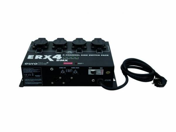 EUROLITE ERX-4 DMX Switch pack, Katkaisin pakki DMX ohjaukseen 4 x 1150W channel, Max. power output 3680W. Euroliten laadukas katkaisin pakki, joka mahdollistaa perinteisten halogeeni ja hehku lamppujen sekä muiden päälle kytkettävien laitteiden etäohjauksen DMX ohjaimilla. Helppokäyttöinen ja yksinkertainen käyttää. Voidaan asentaa tasolle, seinään tai kattoon. Mitat 300 x 190 x 85 mm  sekä paino 2,8kg.