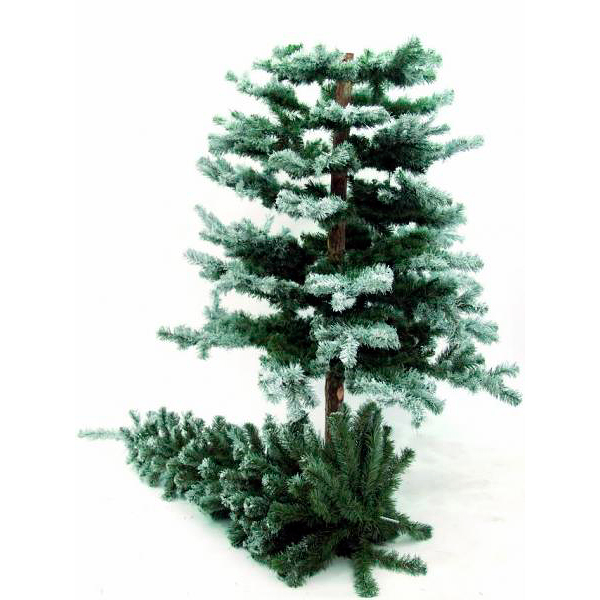 EUROPALMS 240cm Erittäin tuuhea joulukuusi huurre koristuksella, jalustalla varustettu jalustalla .