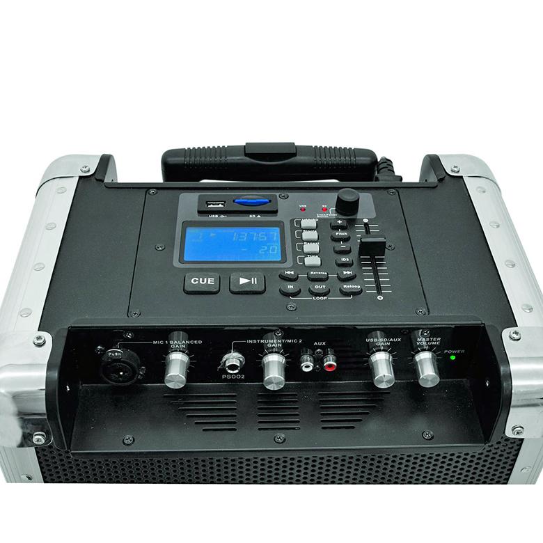 OMNITRONIC PAM-70 Siirrettävä akkukäyttöinen äänentoistojärjestelmä RMS 15W, max. 22W, MP3-soitin, nopeudensäätö ±4 %, ±8 %, ±16 %, USB ja SD-korttipaikka. Akun kesto 7-8 tuntia. Portable PA system. Portable PA system with integrated audio player