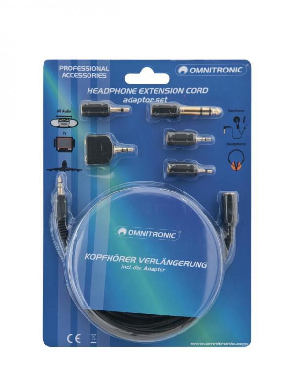 OMNITRONIC Kuulokejatkojohto 3m sekä adapterisetti. Mukana viisi adapteria, joilla kytket kuulokkeet melkein mihin vain.