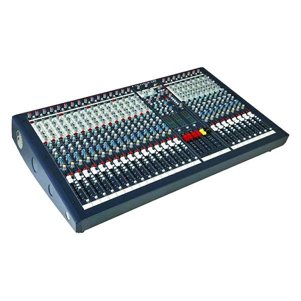 SOUNDCRAFT LX 7ii LIVE 24 mono-, 2 stereo kanavaa, saliäänipöytä, keikalle/kiinteisiin asennuksiin. Kussakin versiossa 2 stereokanavaa (4 tuloa), 4-alueinen eq, kahdella parametrisella keskialueella, 6 auxia, 4 ryhmää, L C R päälähdöt, sisäänrakennettu verkkolaite