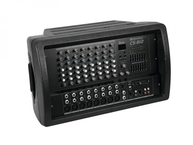 OMNITRONIC CS-812 2x 350W mikserivahvistin kombo, 8- kanavaa, 2x 350W vahvistin, phantom power sekä aux. Mitat 540 x 330 x 320 mm sekä paino 13.5kg.