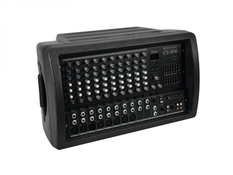OMNITRONIC CS-816 2x350W mikserivahvistin kombo, 16-kanavaa, 2x 350W vahvistin, phantom power sekä aux. Mitat 540 x 330 x 320 mm sekä paino 14kg.