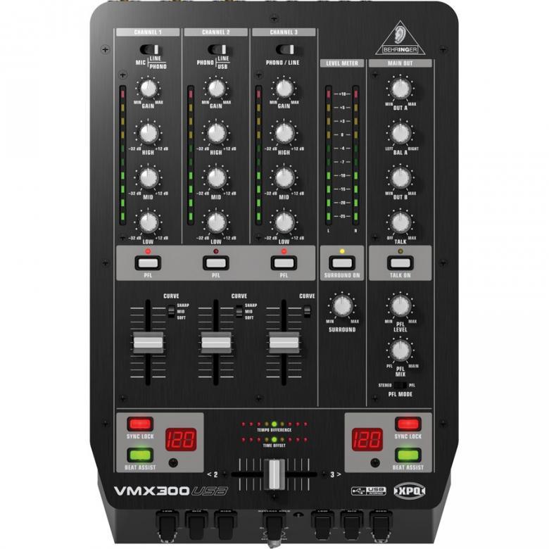BEHRINGER VMX300USB DJ-mikseri kolmella kanavalla,  Säädettävä crossfader-käyrä • 3-alue-EQ, jossa full kill (-32 dB) sekä tasomittari • XPQ 3D -surround-efekti • 3 kill-switcheä etupaneelissa • Esikuuntelu PFL ja split-toiminnolla • Automaattinen talkover-toiminto • Crossfader reverse-kytkimellä • Mikrofonitulo.