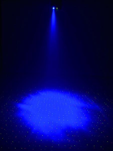 EUROLITE LOPPU!!LED MS-1 MoonLaser. Upea laserefekti punainen 80mW, vihreä 30mW ja sininen LED 5W. Laserin turvallisuusluokka 3B