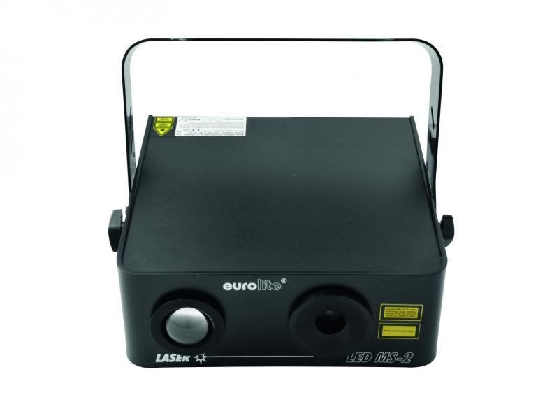 EUROLITE LED MS-2 MoonLaser. Upea laserefekti punainen 100mW, vihreä 40mW ja 15W TCL LED. DMX-ohjauksella, auto- ja musiikkiohjauksella. Laserin turvallisuusluokka 3B