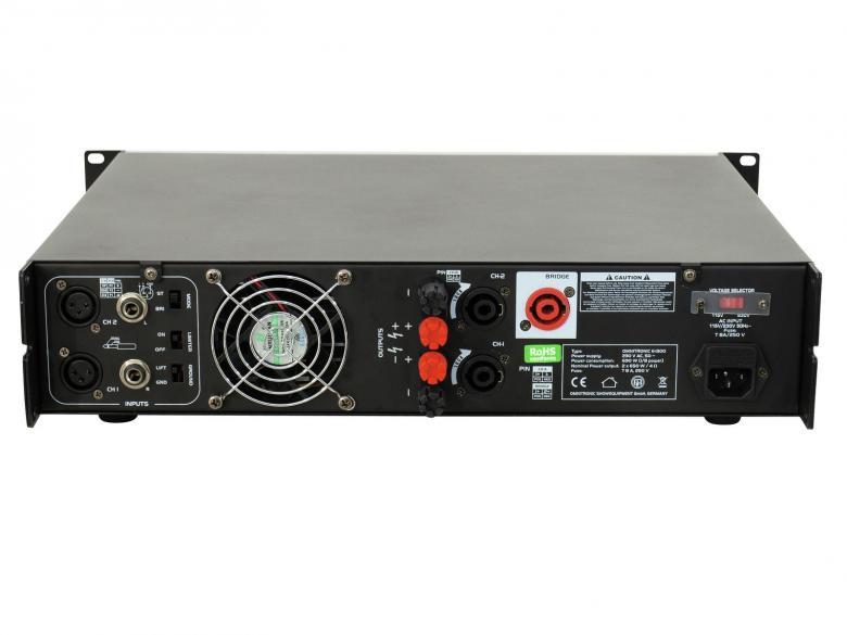 OMNITRONIC E-1300 päätevahvistin 2x 650W 4ohm Laadukas sekä tehokas päätevahvistin ammattimaiseen käyttöön. 19