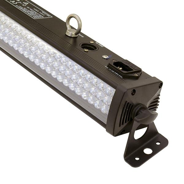 EUROLITE LED-palkki BAR-252 RGBA 10mm 40° on Käytännöllinen LED-palkki RGBA-väreillä vaikka seinien valaisuun. Laadukas parru mallinen valaisin neljällä värillä. Ohjattavissa usealla tavalla, Musiikki, automaatti sekä DMX 4,6 sekä 19 kanavaa. Helppo kiinnittää seinään tai kattoon. Mitat 1075 x 65 x 90 mm sekä paino 2,0kg.