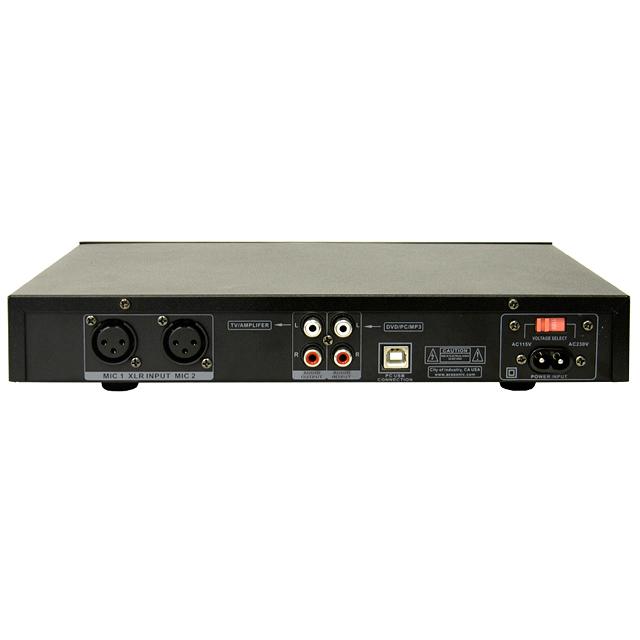 ACESONIC KM-112 USB Karaokemikseri ja monikäyttömikseri, -äänikortti, jossa hinta-laatusuhde on kohdallaan. Tällä voi muuntaa kaikki PC:t, IPOD:t, DVD-, MP4- tai MP3-soittimet karaokekoneeksi laulua, äänentoistoa ja äänitystä varten. Monipuoliset liitännät myös kitaralle ja syntikalle. Kaikulaite ja 3D Sound Enhancer. Mikrofoneja voi säätää erillisillä volume-säätimillä sekä yhteisillä basso- ja diskanttisäätimillä. Laitteen edessä on kaksi mikrofoniliitäntää 6,3mm plugilla ja takana kaksi balansoitua liitäntää XLR-liittimille. Paketin mukana tulee mikrofoni ja lisää voit hankkia tarpeen mukaan. Sis. myös räkkiraudat. Lisämikrofonit löydät yhteensopivien tuotteiden linkistä!