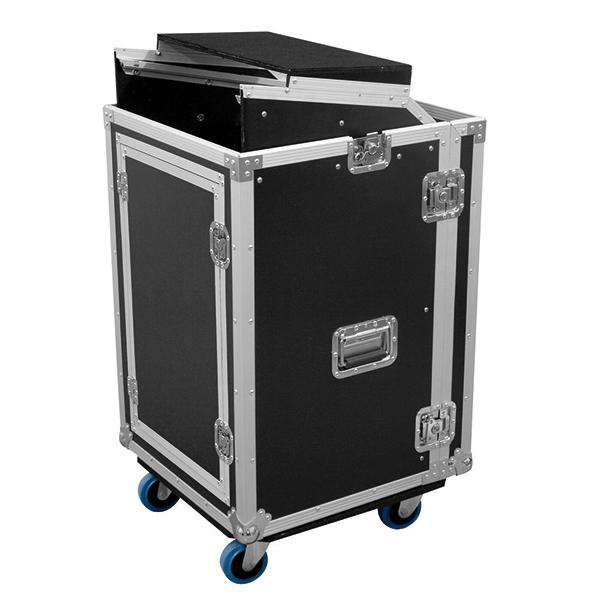 OMNITRONIC Kuljetuslaatikko Laptop-telineellä. Special combo case LS5 laptop desk 17U. Professional flight case for 483 mm units (19