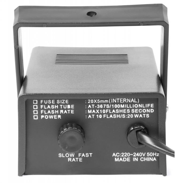 BEAMZ Mini Strobe valo 20W Nopeus säädettävissä 1- 10 välähdystä sekunnissa, yksinkertaista, kytke vain virta ja laite on käyttökunnossa! Tämä strobo soveltuu kotikäyttöön, sillä erittäin pienikokoinen, mitat 130 x 100 x 100 mm, 0,3 kg.