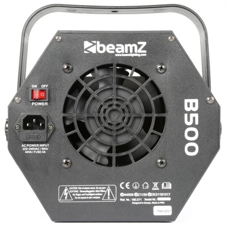 BEAMZ B500 pienikokoinen saippuakuplakone on Hieno kuplakone bileiden piristäjäksi. Mitat 210 x 235 x 250mm sekä paino 3kg. Virtakaapeli 1,7m, irroitettava neste tankki, sähkön kulutus 25W. Kuplarenkaan pyörimisnopeus 20 kierrosta minuutissa.