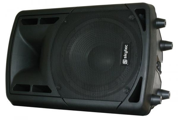 SKYTEC RC10A aktiivikaiutin sisäänrakennetulla mikserillä. Output power 150W, Peak power 300W, soveltuu dj ja karaokekäyttöön! Kaiuttimessa on sisäänrakennettu vahvistin! Laadukas kaiutin, ABS muovista rakennettu, sisäänrakennettu mikseri, mikrofonin sisääntulo, AUX sisään sekä linjaulostulo! <br /> Soveltuu loistavasti paljon liikkuville ja siirrettävää äänentoistoa tarvitseville! max äänenpaine 119Db. Mitat 520 x 360 x 270mm sekä paino 11.00kg.