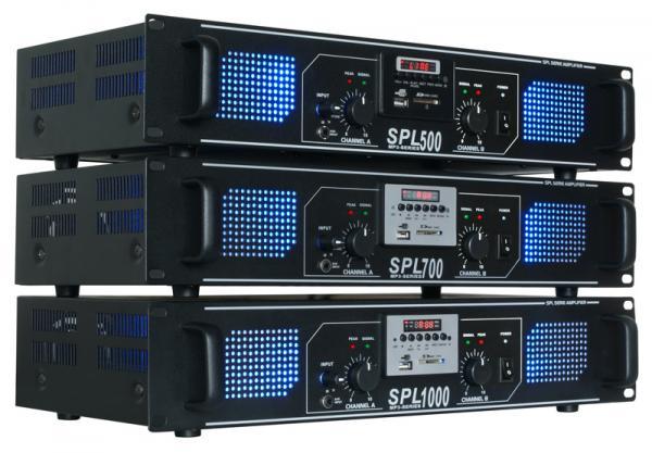 SKYTEC SPL700MP3 Amplifier blue LED, Päätevahvistin 2x 350W 4ohmia USB/SD-korttipaikka, kauko-ohjain