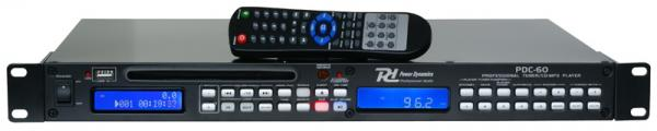 POWERDYNAMICS PDC-60 CD-MP3-RADIO-USB soitin kaukosäätimellä, 1U Tuner with USB/CD Player!Vain reilu 5 cm korkeutta mahdollistaa useiden yksiköiden asentamisen pieneen tilaan. Voit käyttää tuotteen ominaisuuksia hyväksesi myös kaukosäätimen kautta. Slot in levykelkka helpottaa keikkakäyttöä, koska vaaraa hajoavista kelkoista ei enää ole! Laadukas CD soitin moneen käyttötarkoitukseen. Mitat 484 x 270 x 45mm sekä paino 3.1kg.
