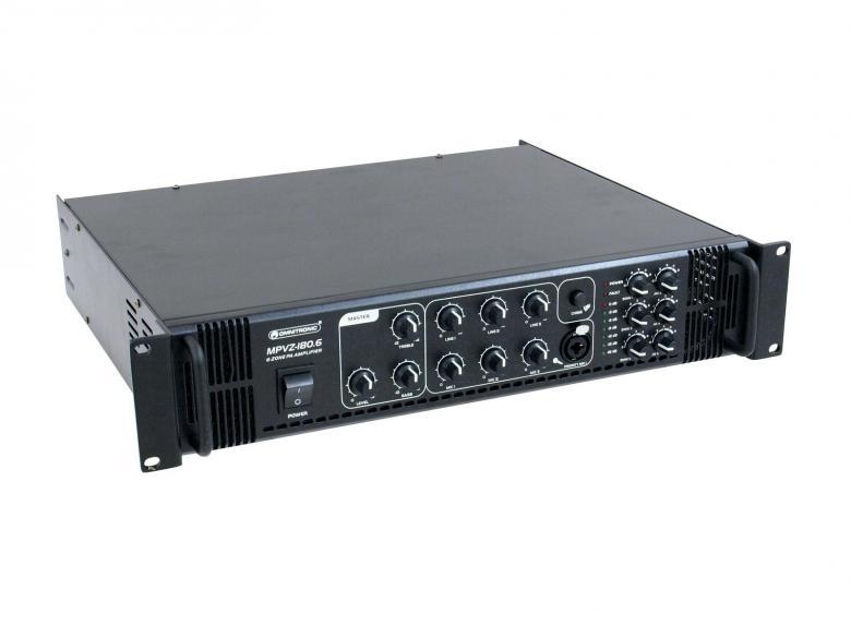 OMNITRONIC MPVZ-180 Monialue mikserivahvistin 180W, 6-aluetta erillisellä 5-askeleen tason säädöllä, ulostulot 70V, 100V tai 4-16 ohmia. PA mixing amplifier. 6 PA zone outputs with separate 5-step level controls