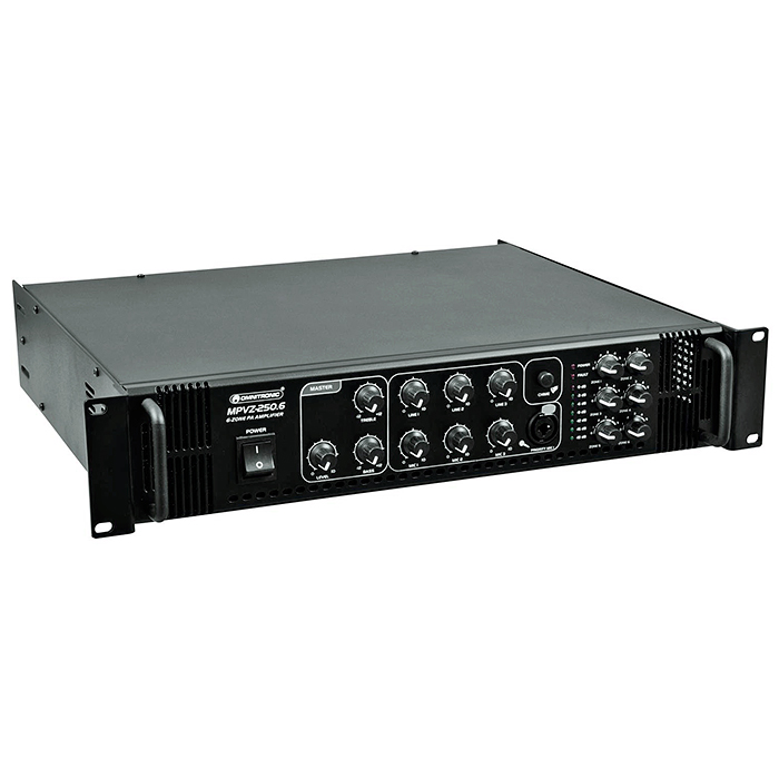 OMNITRONIC <b>B-STOCK!!!</b> MPVZ-250.6 Monialue mikserivahvistin 250W, 6-aluetta erillisellä 5-askeleen tason säädöllä, ulostulot 70V, 100V tai 4-16 ohmia. PA mixing amplifier. 6 PA zone outputs with separate 5-step level controls