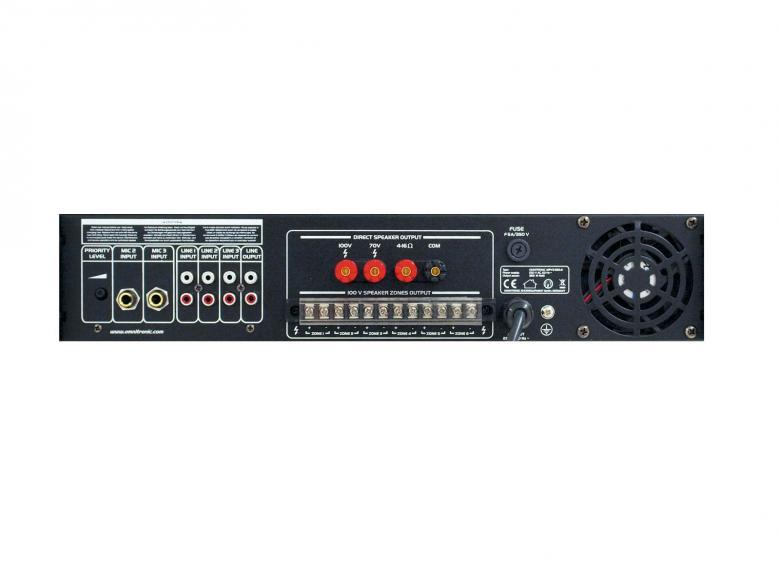 OMNITRONIC MPVZ-350-6 Monialue mikserivahvistin 350W, 6-aluetta erillisellä 5-askeleen tason säädöllä, ulostulot 70V, 100V tai 4-16 ohmia. PA mixing amplifier. 6 PA zone outputs with separate 5-step level controls. 483 x 385 x 92 mm