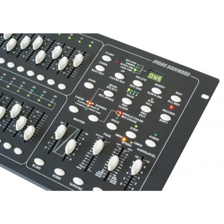 BEAMZ DMX PRO024 Scene Setter valo ohjain Stage designer 12/24, helppokäyttöinen DMX ohjain! Soveltuu loistavasti pienille näyttämöille sekä keikkaileville artisteille. Ohjain esim. LED PAR-heittimille! Erittäin näppärä myös led parruille. 24 ohjattavaa DMX-kanavaa, 48 ohjelmaa, 12 tapahtumaa suoraan liukujen kautta.Blackout toiminne, Ääniohjaus linja sisäänmenosta. 19 Räkkikoko 6 U korkeus(265 mm).DMX ulostulo 3-Pin XLR-liittimellä, Asennus syvyys 80mm. Paino 5 Kg.