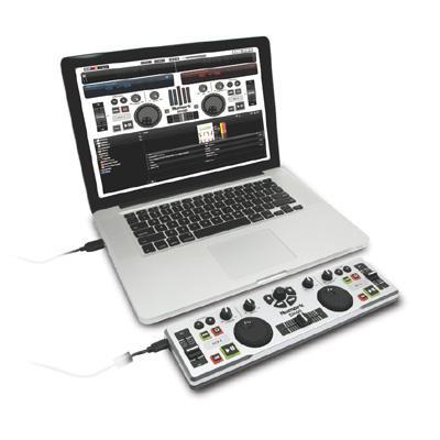 NUMARK DJ2GO DJ-kontrolleri mini kokoinen, joka on maailman helpoin mukaanotettava softa-ohjain sis. softan! Numark DJ2Go on pieni mutta varsin pätevä DJ-ohjain, jonka avulla voit hallita lähes kaikkia DJ-ohjelmistoja perinteisillä säätimillä jonka tuntoon näppäimistö ja hiiri ei yksinkertaisesti vain pääse. DJ2Go painaa vain 370 grammaa, mutta silti tähän pieneen ihmeeseen on mahdutettu 2 jog wheel-säädintä, crosfader-liuku, pitch- ja gain-säätimet ja muut tarvittavat painikkeet mitä löytyy yleisesti 2-pesäisistä CD-soittimista. DJ2GO-ohjaimen avulla voit ladata kappaleita kummallekkin deckille ja synkronoida kappaleet keskenään koskematta tietokoneeseesi.